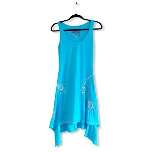 JOHNNY WAS blue embroidered handkerchief dress